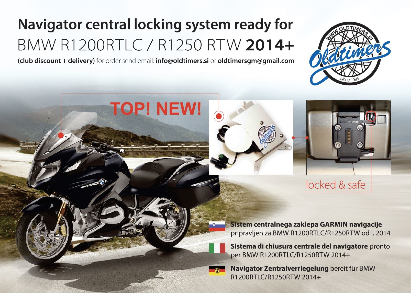 Navi Lock System ready for BMW R1200RT R1250 RT Custom