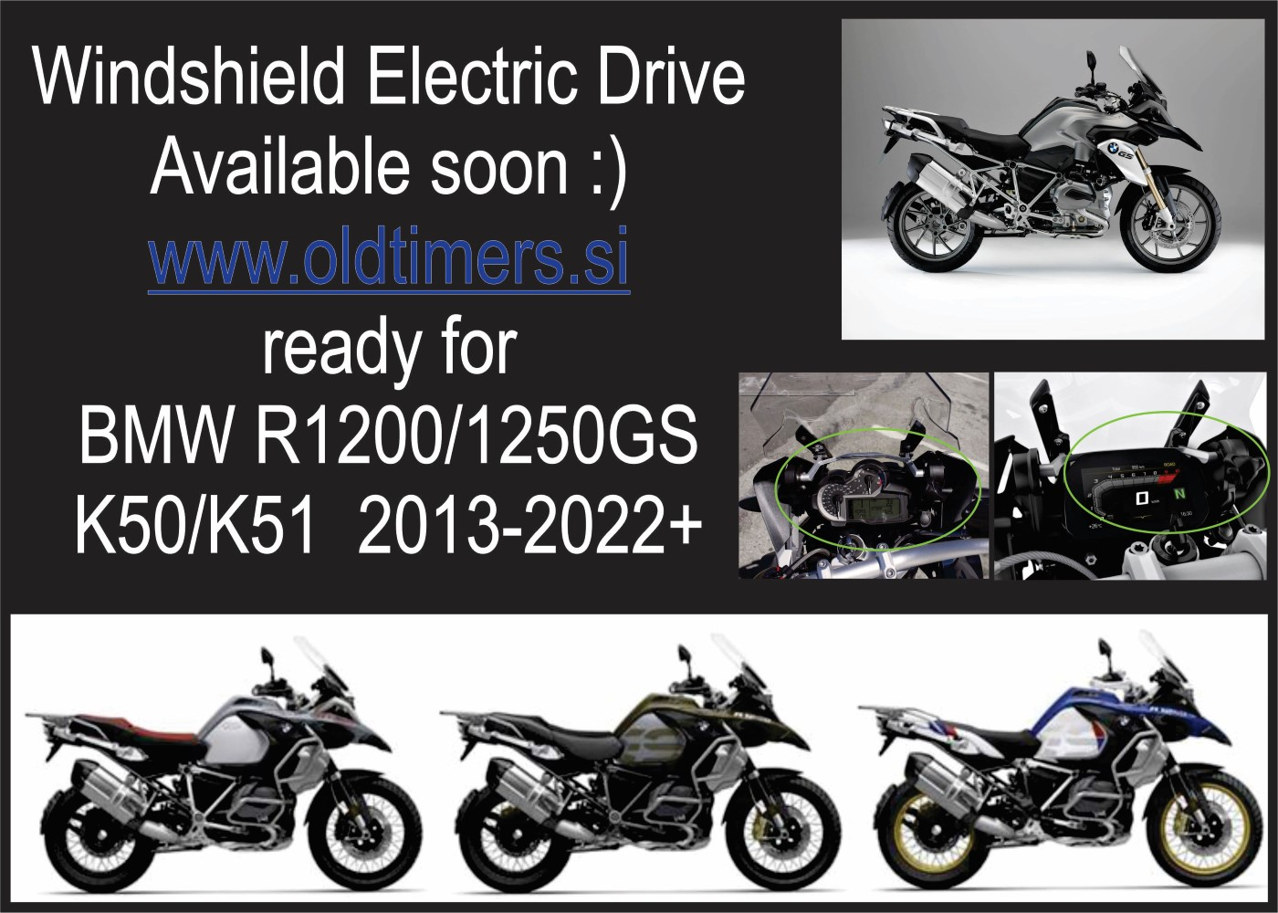 Windshield electric drive ready for Bmw R1200GS 1250GS K50 K51 2013 2022 Custom 2