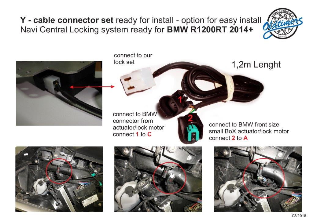 Y connector BMW R1200RT 2014Navi lock system